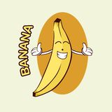 香蕉吉祥人商标 免版税库存照片