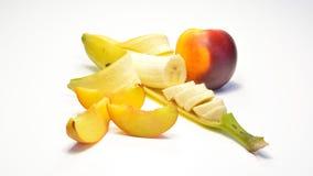 香蕉和桃子 免版税库存照片