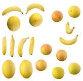 香蕉和桔子和柠檬和Galia和黄色瓜和白色和红色葡萄柚集合 图库摄影