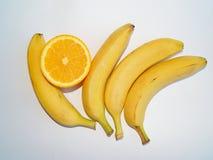 香蕉和桔子 免版税库存图片