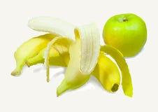 香蕉和苹果 库存例证