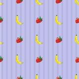 香蕉和草莓无缝的样式 库存例证