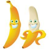 香蕉咧嘴面孔表示被隔绝的漫画人物 库存图片