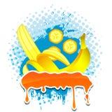 香蕉四框架grunge您文本的向量 库存照片