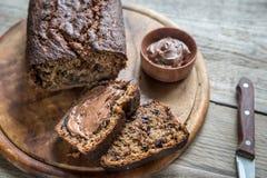 香蕉巧克力面包大面包与巧克力奶油的 库存图片