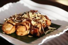 香蕉干酪油煎的快餐 免版税图库摄影