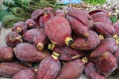 香蕉开花在市场,巴色,老挝上 库存图片