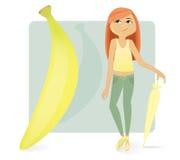 香蕉形象皮包骨头的类型妇女 免版税库存照片