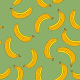 香蕉无缝的样式 免版税库存图片