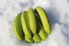 香蕉未加工的绿色-香蕉蛋白质震动或融雪 库存图片