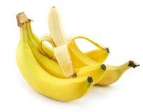 香蕉束查出的被剥皮的成熟白色 免版税库存照片