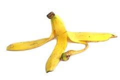 香蕉果皮被隔绝的白色背景 免版税库存图片