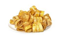 香蕉油炸马铃薯片 免版税图库摄影