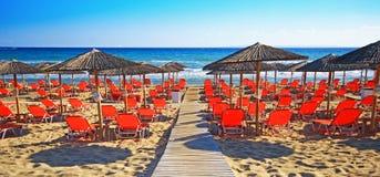 香蕉海滩,扎金索斯州海岛,希腊 图库摄影
