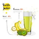 香蕉猕猴桃新鲜的汁液手拉的水彩果子和玻璃混合鸡尾酒在白色背景 库存例证