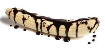 香蕉用巧克力 免版税图库摄影