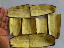 香蕉皮和装饰 库存图片