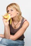 香蕉秀丽妇女 库存图片