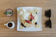 香蕉薄煎饼 免版税库存图片