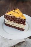 香蕉蛋糕用巧克力 图库摄影