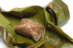 香蕉被包裹的叶子米 免版税库存图片
