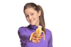 香蕉逗人喜爱的女孩藏品 图库摄影