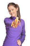 香蕉逗人喜爱的女孩藏品 免版税图库摄影