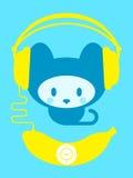 香蕉逗人喜爱的小猫音乐播放器 免版税库存图片