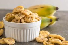 香蕉酥脆芯片 免版税图库摄影
