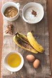 香蕉面包的食品成分 图库摄影