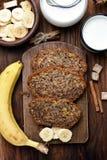 香蕉面包,顶视图 免版税库存照片