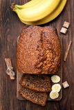 香蕉面包,顶视图 免版税库存图片