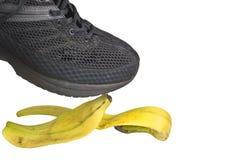 香蕉黑色鞋子 免版税图库摄影