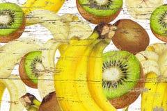 香蕉,在难看的东西纹理的猕猴桃 免版税库存照片