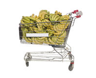 香蕉购物车购物 图库摄影