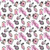 香水无缝的样式 乱画香水瓶剪影在桃红色颜色的在白色背景 向量 免版税库存图片