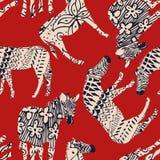 马上色红色背景的斑马摘要 免版税库存图片