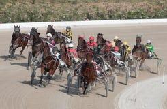 马上马具的赛马比赛组装 免版税库存图片