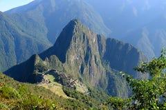 马丘比丘全景从马丘比丘山的 图库摄影