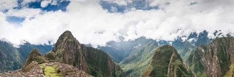 马丘比丘全景秘鲁,南美联合国科教文组织世界遗产名录 图库摄影