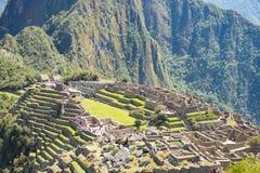 马丘比丘大阳台从上面浸泡看法对下面Urubamba谷 秘鲁旅行目的地,旅游业著名地方 免版税库存照片