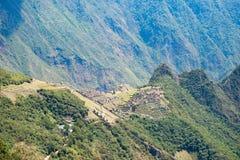 马丘比丘大阳台从上面浸泡看法对下面Urubamba谷 秘鲁旅行目的地,旅游业著名地方 库存图片