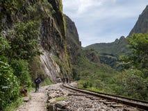 马丘比丘,库斯科,秘鲁印加人足迹  库存照片