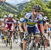 马修哈利攀登Alpe D'Huez的Goss 库存照片