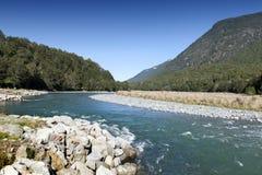 马偕小河,峡湾国家公园,北Fiordland,俯视Eglinton谷,在Milford路,新的Z 库存照片