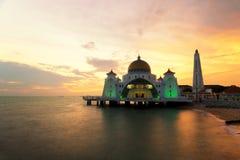 马六甲回教清真寺是美丽的回教清真寺在马六甲 图库摄影