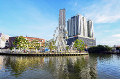 马六甲,马来西亚- 10月23 :在Melaka r银行的马六甲眼睛  免版税库存图片
