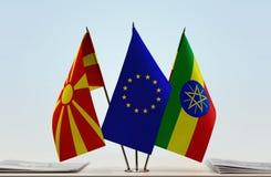 马其顿欧盟和埃塞俄比亚的旗子 皇族释放例证