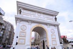 马其顿的凯旋式门在斯科普里大街上的, Ma 库存照片