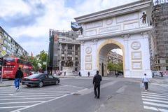 马其顿的凯旋式门在斯科普里大街上的, Ma 免版税库存照片